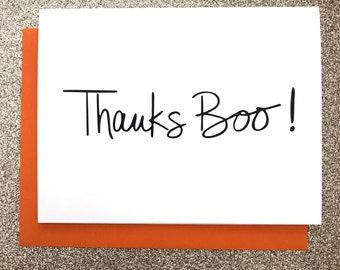 Thanks Boo A2 Greeting Card, Typography Print, Motivation, Inspiring Cards, Pep Talk, Monochrome Art