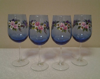 Hand-Painted Roses and Daisies Cobalt Wine Glasses