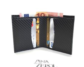 Mens wallet- Carbon Fiber leather- slim design- minimalist wallet