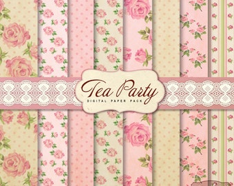 8 Vintage Shabby Chic Tea Party Digital Scrapbook Papers. For invites card making digital scrapbooking
