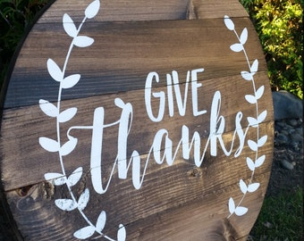 Give Thanks Pallet Sign - Reclaimed Wood Art - Thankful - Thanksgiving Signs