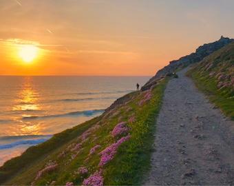 Sunset at chapel porth beach St Agnes