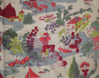 French Village Vintage Nautical Scenic Barkcloth Fabric, River Fishing