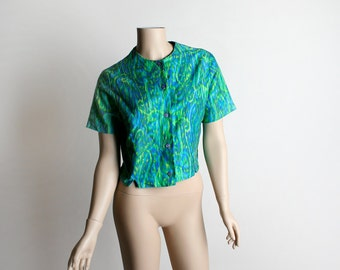 Vintage 1960s Blouse - Psychedelic Emerald Green and Aqua Blue Paisley Swirl Cotton Blouse - Medium