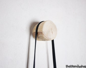 Simple Chunky Log Wall Hanger, Clean Wood Minimal Decor Coat Hook