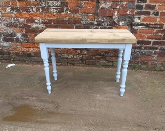 Reclaimed wood console table with Farrow and ball painted farmhouse legs. Made to measure Hall side table thick chunky rustic top industrial