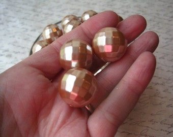 Champagne Disco Ball Bead, 10 pcs 20mm Metallic Champagne Gold Gumball Beads, Faceted Chunky Beads, Bubblegum Bead, Acrylic Bead