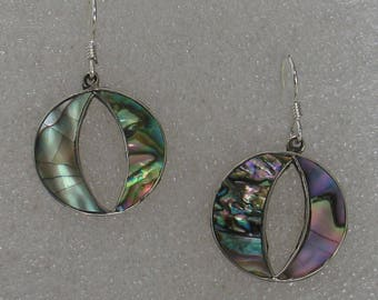 """SALE Round Abalone Earrings 7/8"""""""
