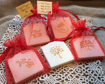 Red and Gold Accented Wedding Favor Soap, Bridal Shower Favors, Baby Shower Soap Favors - 30  Custom Favors in Organza Bags