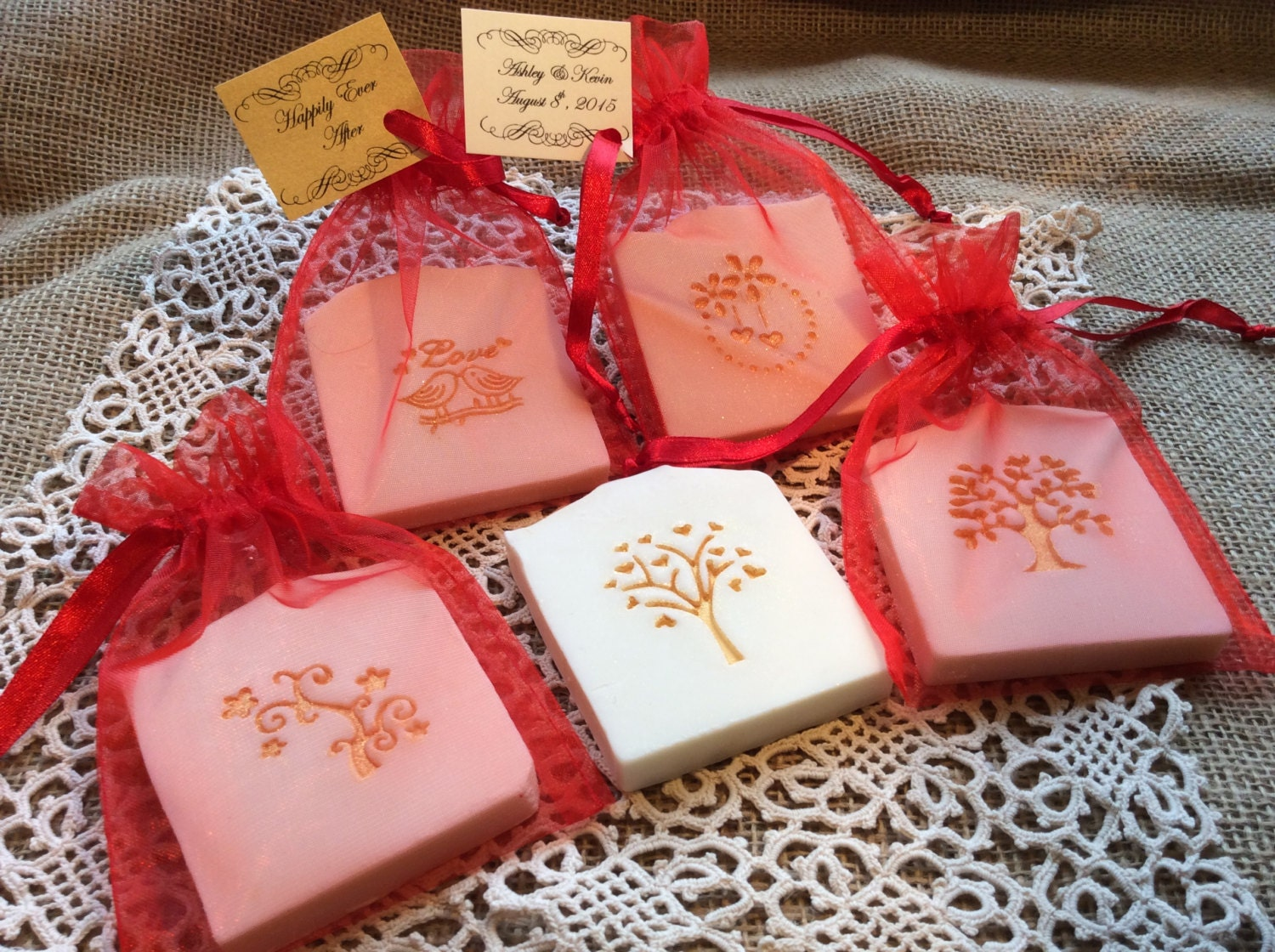 Red and Gold Accented Wedding Favor Soap Bridal Shower