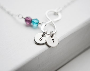 Infinity Necklace | Silver Personalized Gift | 2 Two Initials Birthstones | Mother's Day | Wedding Infinite Love | Best Friends | Mom of 2