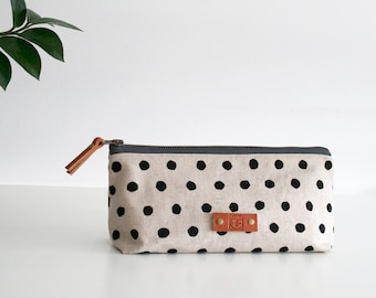 Large pencil case, Small makeup bag, Dotty print, Art gifts, Teacher gift, Pencil pouch, Japanese textile
