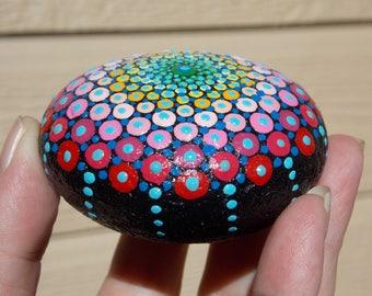 Mandala Stone, Painted River Stone, Meditation Stone, Sacred Geometry, Dot Painting, Dot Mandala Stone, Art by Kaila Lance, Gift Wrapped