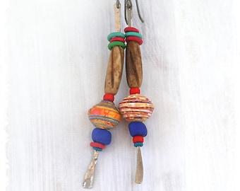 Colorful tribal long dangle earrings, Gypsy stick earrings, Hippie earrings, Ethnic mixed media earrings, Stacked bead earrings,