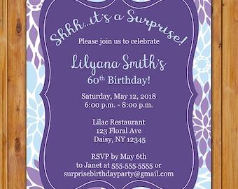 Überraschung zum Geburtstag Party Einladung, lila violett Baby Blau Floral 50. 60 brach jeden Alter Frühling laden druckbare 5 x 7 digitale JPG-Datei (602)