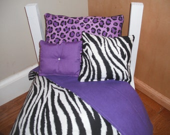 "4 Piece Bedding set American Girl, 18"" doll bed Zebra stripe purple Leopard"