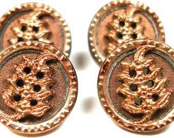 Antique twinkle BUTTONS, 4 Victorian leaves in copper, unused.