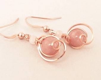 Pink Stone Rose Gold Drop Wire Earrings, Small Rose Pink Muscovite Unique Rose Gold Wire Wrapped Asymmetrical Earrings, Rose Gold Earrings