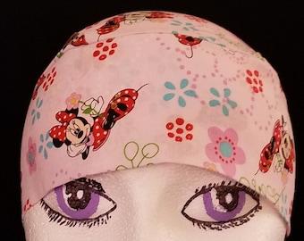 Minnie Mouse Pink Skull Cap or Chemo Cap, Hats, Kids, Surgical, Alopecia, Hair Loss, Bald, Motorcycle, Handmade, Helmet Liner, Women, DoRag