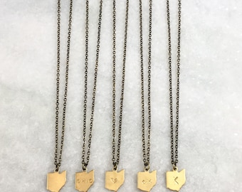 Choose Your State Necklace | Dainty Brass Necklace | Heart | State Name | Blank | Area Code | Initials