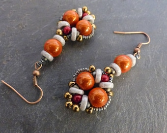 ♥ Earrings orange and gray woven by hand ♥