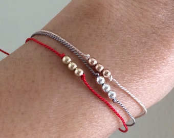 Three Wishes Beaded Gold Fill Bracelet also available in Silver and Rose Gold Fill
