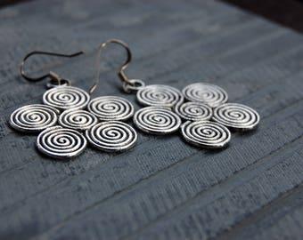 Silver Spiral Earrings, Bohemian Earrings, Swirl Gypsy Earrings, geometric Earrings, Ethnic earrings, Hippie jewelry, handmade Dangle Earing