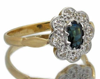 1930s / 1940s Vintage Art Deco Style Sapphire & Diamond Ring | 18ct Gold / Platinum | Great Engagement Ring Or Gift | Size UK M / USA 6.1/4