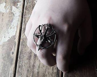 Silver Tone Baphomet Ring