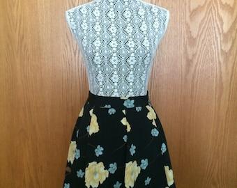 90s Sellecca Black & Floral A-Line Mini Skirt - Hipster, Festival, Boho