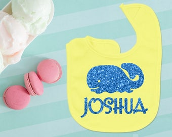 Personalized Name Baby Boy Bib Yellow And Blue Glitter Whale Baby Shower Gift
