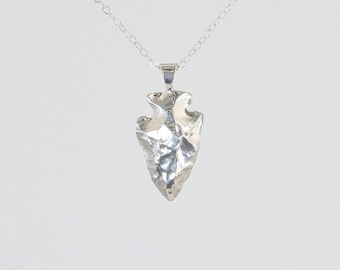 Solid sterling silver arrowhead necklace silver arrow necklace silver arrowhead necklace sterling silver arrowhead silver arrowhead pendant solid silver arrowhead aloadofball Gallery