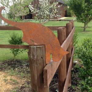 cat garden decor. rusty leaping cat / metal decor post topper garden i