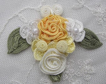 2 pc Handmade yellow ivory woven gimp flower applique embellished w pearl leaves hair accessory barrette bow