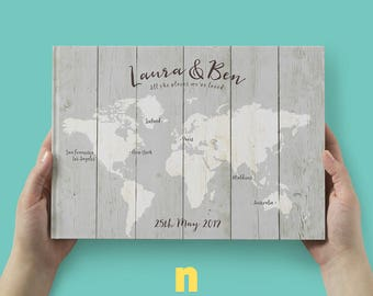 Wedding Guestbook, Travel Theme Guest Book, Destination Wedding, Travellers Notebook, Personalised World Map Book, Travel Adventures Book