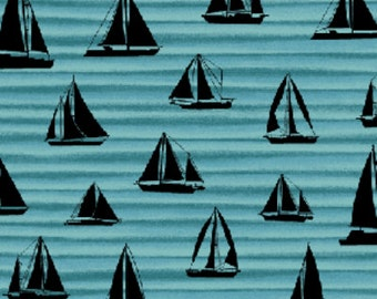 SALE!! Fat Quarter By The Sea -  Sail Away Wave in Black and Turquoise Blue - Nautical - Cotton Quilt Fabric from Benartex Fabrics (W1615)