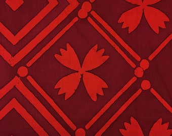 Alison Glass Handcrafted 2, Tile in Brick, AB-8134-R, Red Fabric, Batik, Floral Fabric, Cherry Red Batik Fabric
