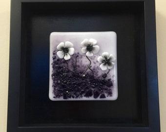 Fused glass, handmade fused glass, fused glass wall panel, Fused Glass art, handmade fused glass panel, fused glass wall art, glass flowers
