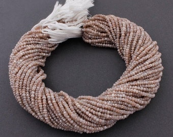 FATHERS DAY SALE 5 Strands Peach Moonstone Silver Coated Faceted Rondelles - Roundel Beads 3mm 13 Inches Rb240