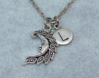 Silver Moon with Initial necklace, initial charm, moon charm, moon pendant, personalized jewelry