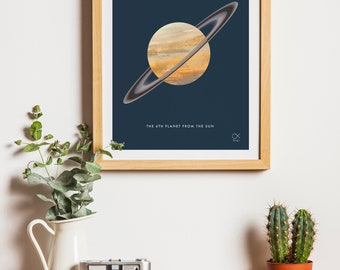 Saturn , Planet, Space, minimalist  poster