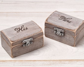 His and Hers Ring Bearer Boxes Ring Holder Wedding Ring Bearer Pillow Box Rustic Ring Box Set of 2  Alternative Ring Pillow