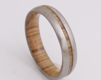 Mens Wedding Band with inner wood ring and Titanium ring olive