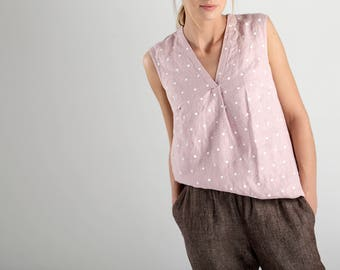Pink Sleeveless Linen Top With White Dots / Pink Linen Top / Sleeveless Linen Blouse / Linen Blouse With Dots / Loose Fit Linen Top