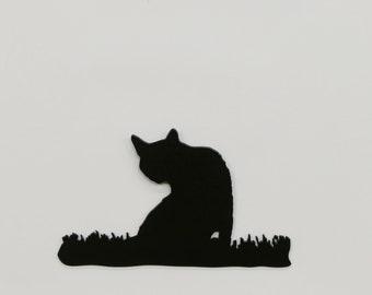 """Cat in Grass #4 - Metal Wall Art - 8.3"""" Wide x 4.9"""" Tall - (MM17---)"""