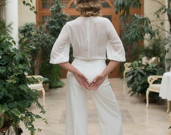 Modern Two Piece Trouser Wedding Suit L22, Wedding Trousers, Wedding Blouse, Unique Wedding Dress, Modern Wedding, Different Kind of Wedding