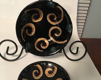 Black embellished gold bowls- set of two