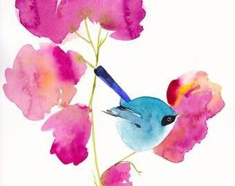 Bird Print - Living Room Wall Decor - Watercolor Art - Blue Bird in the Blooms - 11x14 Giclee Print