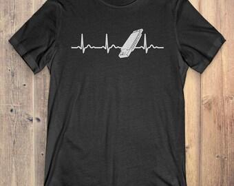 Harmonica T-Shirt Gift: Harmonica Heartbeat