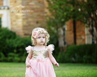 Flower Girl Dress, Lace Flower Girl dress, Gold Flower Girl Dress, Pink Flower Girl Dress, Girl Formal Dress, Rustic Flower Girl Dress